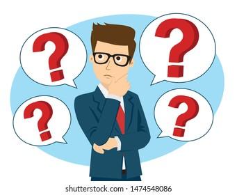 Businessman thinking, question mark.Thinking, contemplating, asking, himself.Vector illustration