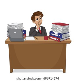 Businessman thinking.vector and illustration.