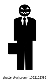 Businessman as threatening and frightening beast - ruthless, aggressive and dangerous male person and character in formal black suit. Vector illustration