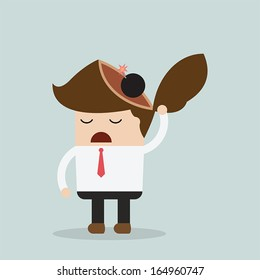 Businessman throw bomb in his head, Explode ideas, Stress concept, VECTOR, EPS10