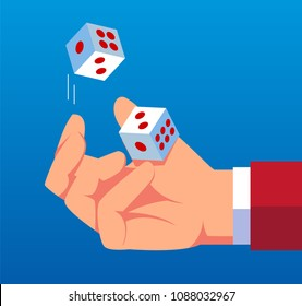 Businessman throws dice up
