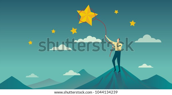 Businessman throws a lasso, catching star : Vector Illustration character.