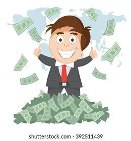 Businessman thumb up money bills pile and world map background, vector  illustration