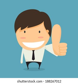 Businessman thumb up. like concept vector.