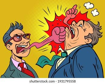 businessman tongue mouth gesture fist bump. Comic book cartoon pop art hand drawing illustration