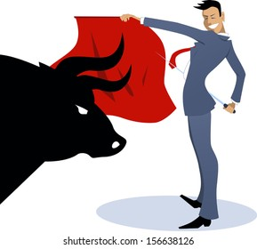Businessman torero fighting a bull. Young businessman posing as a bullfighter with a red cape and a sword, silhouette of a bull head on the front