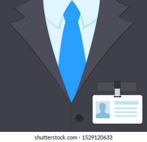 Businessman torso in classic suit and tie with id badge holder strap clip on his chest. Flat style vector illustration.
