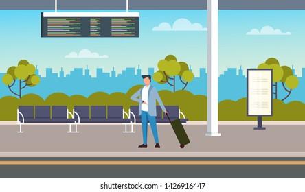 Businessman tourist passenger waiting bus at bus station. Transportation concept. Vector flat cartoon graphic design illustration
