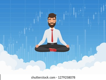 Businessman trader meditating in the sky. Meditative businessman relaxing over clouds with stock exchange graph charts background vector illustration.