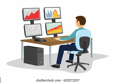 Businessman trading stocks. Stock trader is looking at graphs, indexes and numbers on multiple computer screens in traders office