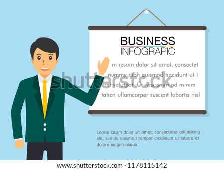 280281cb7392 businessman training. Stock vector illustration in flat design. Handsome  manager in formal suit is