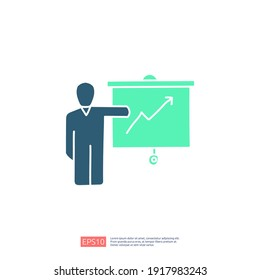 businessman, training or teacher presentation icon with board concept. growing business arrow up graph sign symbol vector illustration