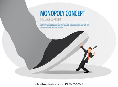 Businessman is trampled by a big foot. Big boss trying to stomping step on his small worker. Monopoly, bad leadership, conflict, competition concept.
