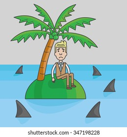 Businessman trapped on the island surrounded by water and sharks, abstract business concept, vector, illustration
