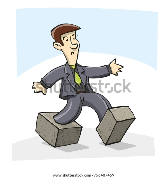 A businessman trapped-in concrete shoes