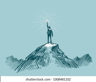 Businessman, traveler or man standing on peak mountain. Sketch vector illustration