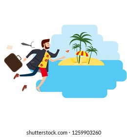 Businessman travels from winter to summer to a tropical resort, for advertising, ads, card, poster, template, cartoon style, greeting card, illustration, vector, banner, isolated