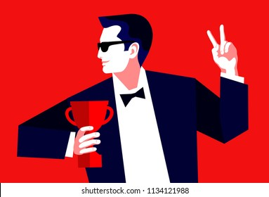 Businessman with trophy cup celebrating a win, showing a sign of victory. Vector illustration