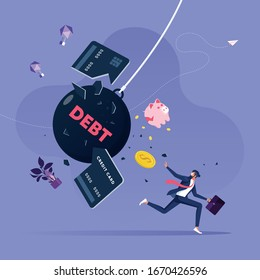 Businessman try escape from debt-Business financial concept