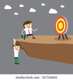 Businessman try hard to hold on the cliff. jump over the precipice, Ladder to success. Step by step infographics illustration.walk. money.dream concept. idea. Future goals,Cartoon flat. run. vector