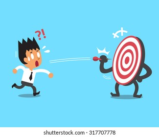Businessman try to hit a target