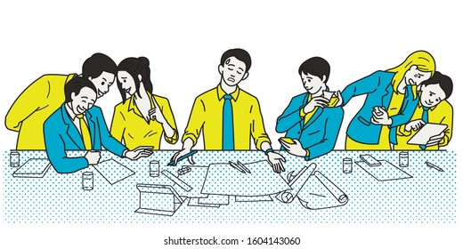 Businessman try to make failure presentation in meeting room with no one pay attention, or gain inattentive, ignorance, or neglect. Line, linear, hand drawn sketch design, simple style.