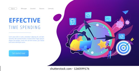 Businessman trying to accomplish tasks and goals on time and big clock and computer. Time management, effective time spending, time planning concept. Website vibrant violet landing web page template.