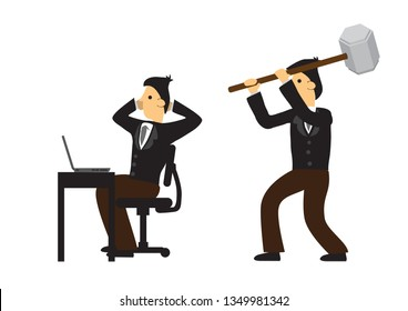 Businessman trying to attack his co-worker in his office. Concept of corporate sabotage or business misfortune. Isolated vector illustration.