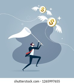Businessman is trying to catch flying dollar coin with a scoop-net. Business concept vector