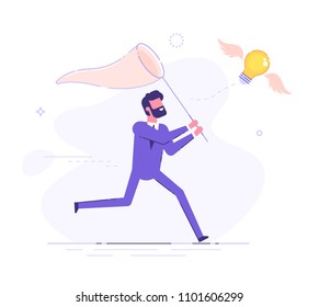 Businessman is trying to catch a flying light bulb with a scoop-net. Search for ideas. Flat vector illustration.