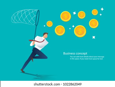 businessman trying to catch money business concept