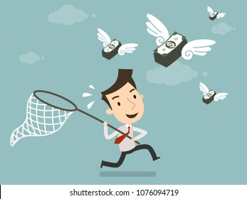 Businessman Trying To Catch Money Fly Startup Business Business Concept Vector Illustration