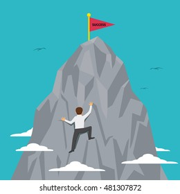 Businessman trying to climb up on the top of mountain with word success, vector illustration cartoon