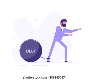 Businessman trying to go with a huge weight of debt chained to his leg. Credit slavery concept. Flat style vector illustration.