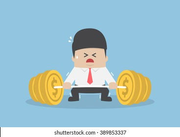 Businessman trying hard to lifting up barbell with coin weight, financial concept, VECTOR, EPS10