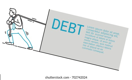 Businessman trying hard to pulling rope to drag heavy task with text debt. Outline, hand drawn sketch, line art, linear, cartoon, doodle, simple style.