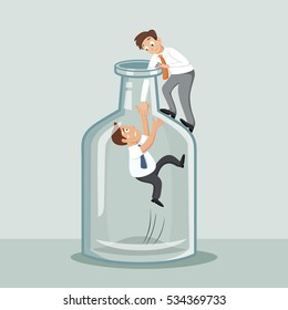 Businessman trying to help partner trapped inside bottle out through, vector illustration cartoon