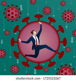 Businessman is trying to overcome or find a way out of the crisis over coronavirus Covid-19. Concept, flat design vector illustration