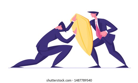 Businessman Trying to Overcome Resistance Attacking Man with Golden Shield. Business Protection, Onslaught and Confrontation Concept. Overcoming of Crisis Situation. Cartoon Flat Vector Illustration