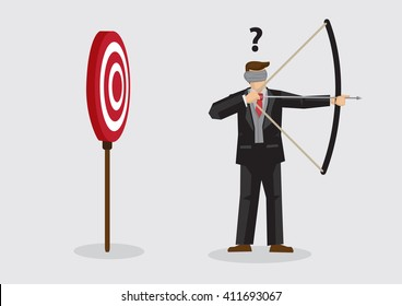 Businessman trying to shoot target with blindfold. Vector illustration on concept of trying to achieve goal without vision concept isolated on plain background.