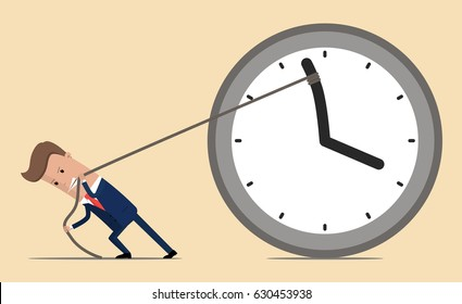 Businessman trying to slow down time. Vector illustration