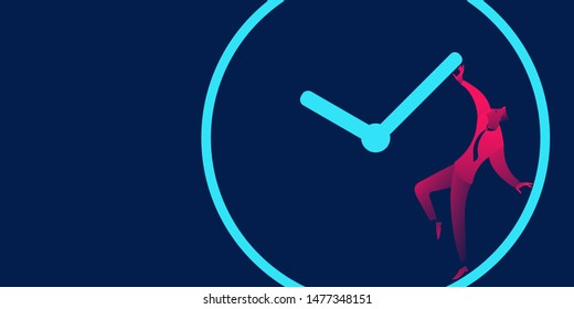 Businessman is trying to stop time. Delay, Deadline and time management business concept in red and blue neon gradients.