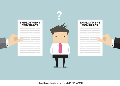 Businessman with two employment contract offer from two companies. vector