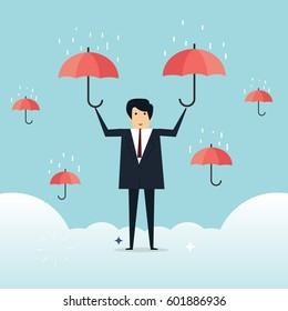 Businessman with umbrella above Business concept, vector illustrator
