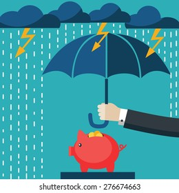 A businessman with umbrella protecting his piggy bank.. Saving money for any storm problem will come. Business concept.