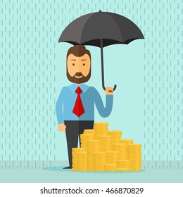 businessman with umbrella in the rain protects a stacks of golden coins, safe investment, saving money, cartoon flat design vector