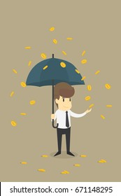 Businessman with Umbrella Standing Under the Rain of Golden  Dollar Coins, Business cartoon concept character.