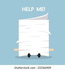 Businessman under the stack of paper, flat design, work concept