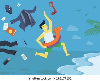 Businessman undress his suite and clothes, leave his office things and stop working,  run with swim rubber ring to the beach,  holiday and summer concept.