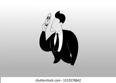 a businessman unmasks his face, silhouette design illustration for business purpose